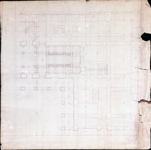 Esquema del ángulo inferior derecho de la planta baja del palacio de Riofrío (Segovia)
