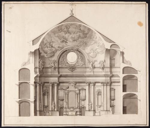 Sección longitudinal de una capilla (inventariada como  capilla del palacio de Riofrío (Segovia)