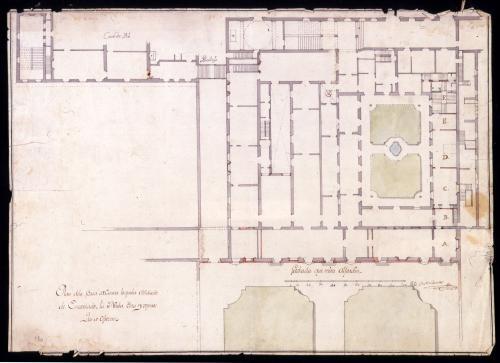 Planta de la Casa de Osuna y su unión con la del Príncipe Pío, Palacio de los Afligidos (Madrid)