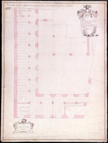 Plano topográfico y planta  para las caballerizas y cochera de la casa del conde de Paredes (Madrid)