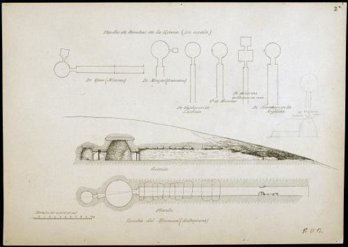 Tumbas griegas, tumba del Romeral (Antequera)  y de Mesara: Plantas y Sección.