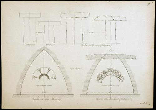Tumbas griegas y del Romeral (Antequera). Alzados de las puertas y secciones de las tumbas.