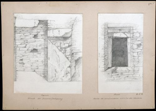 Túmulo del Romeral (Antequera). Puerta de comunicación entre las dos cámaras. Alzado y sección.