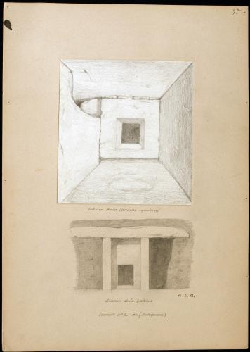 Túmulo nº 2 de Antequera. Interior de la cámara sepulcral y sección de la galería.