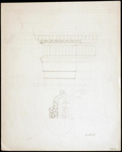 Capitel y entablamento corintios de  Baalbek (Líbano)