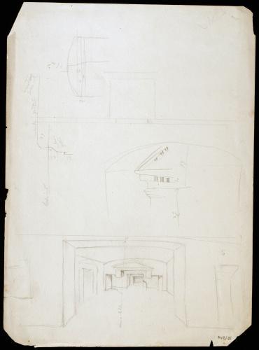 Interior y sección de las Catacumbas de Alejandría (Egipto)
