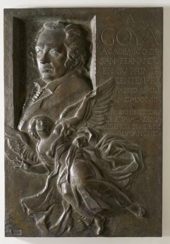 Placa homenaje a Goya en el primer centenario de su muerte