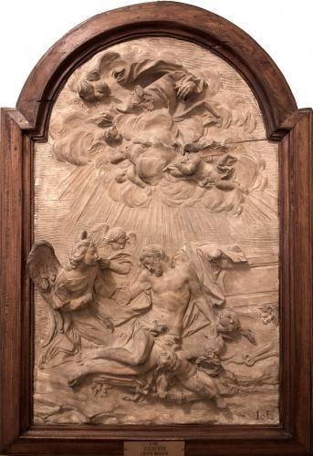 Cristo muerto elevado por los ángeles que portan los instrumentos de la Pasión