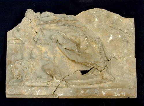 Fragmento de España con los dos hemisferios y el león