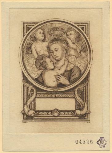 Virgen con el Niño, coronada por dos ángeles