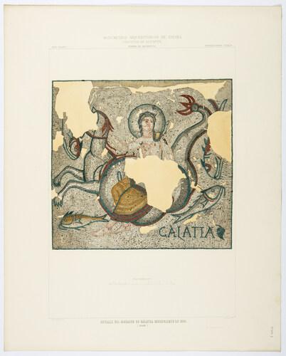 Alicante. Elche. Detalle del mosaico de Galatea, descubierto en 1861