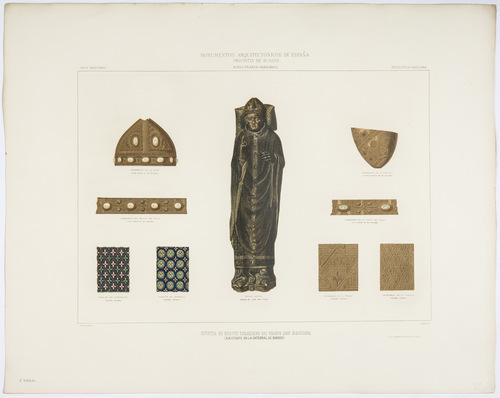 Burgos. Estatua de bronce esmaltado del obispo D Mauricio existente en la Catedral de Burgos