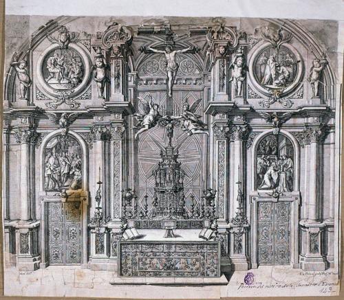 [Retablo de la Santa Forma en la Sacristía del Monasterio de El Escorial]