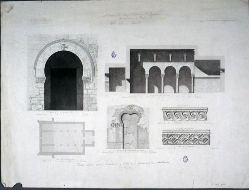 Planta, Portada, sección longitudinal y detalles de la Iglesia de S. Juan (Baños)