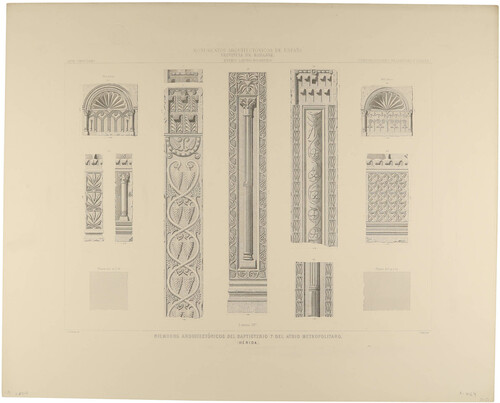 Badajoz. Mérida. Fragmentos arquitectónicos del Baptisterio y del Atrio metropolitano
