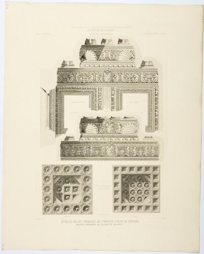 Madrid. Alcalá de Henares. Detalles de los torreones de Poniente y patio de entrada del Palacio Arzobispal