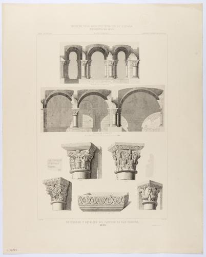 León. Sección y detalles del Panteón de San Isidoro
