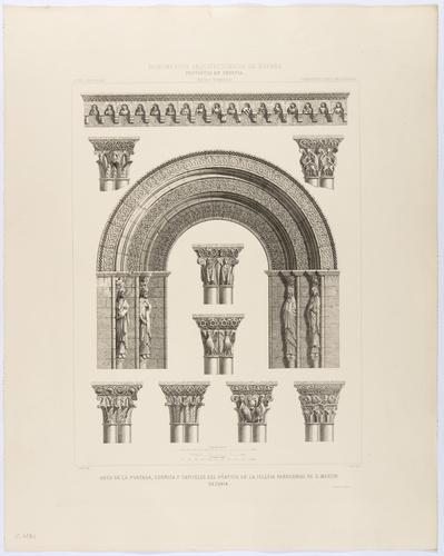 Segovia. Arco de la portada, cornisa y capiteles del pórtico de la iglesia parroquial de San Martín