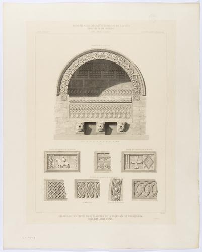 Oviedo. Cangas de Onís. Sepulcros existentes en el claustro de la colegiata de Covadonga