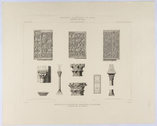 León. Gradefes. Detalles de la Iglesia de San Miguel de Escalada