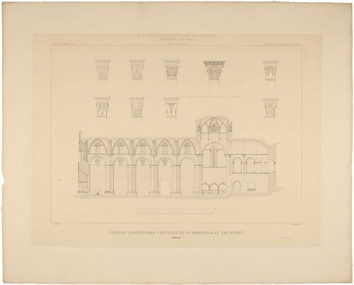 Ávila. Sección longitudinal y detalles de la parroquia de San Pedro