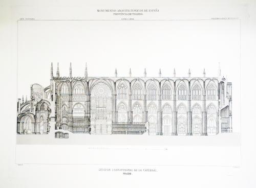 Toledo. Sección longitudinal de la Catedral