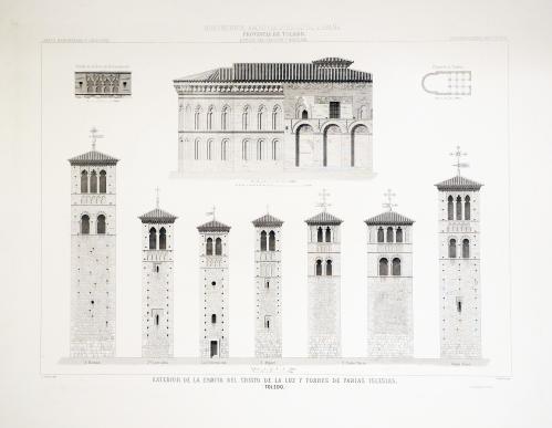 Toledo. Exterior de la ermita del Cristo de la Luz y torres de varias iglesias