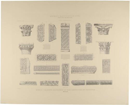 Badajoz. Mérida. Miembros y fragmentos arquitectónicos de varias construcciones, hoy desconocidas