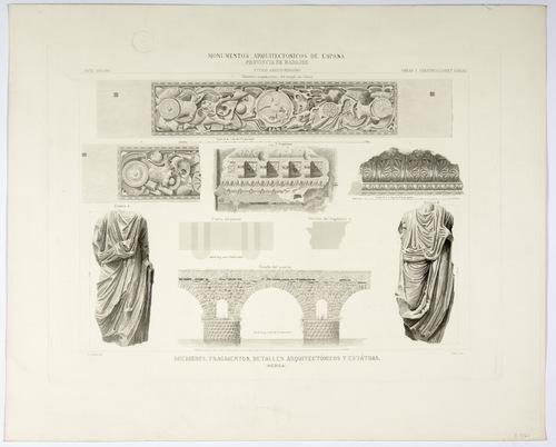 Badajoz. Mérida. Miembros, fragmentos, detalles arquitectónicos y estatuas