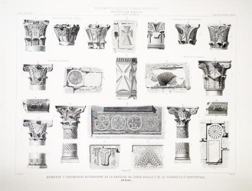 Badajoz. Mérida. Miembros y fragmentos decorativos de la basílica de Santa Eulalia y de la Ciudadela o Conventual