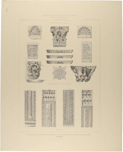 Badajoz. Mérida. Miembros y fragmentos decorativos de la Basílica Metropolitana y del Baptisterio