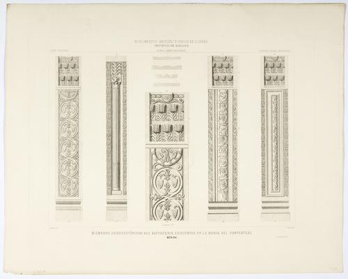 Badajoz. Mérida. Miembros arquitectónicos del Baptisterio existentes en la noria del Conventual
