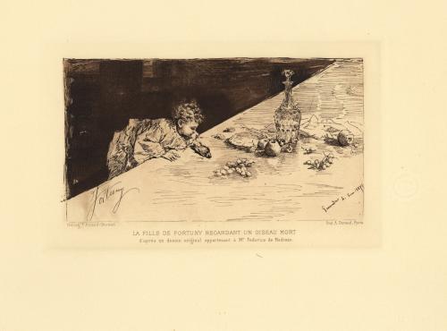 La hija de Fortuny mirando un pájaro muerto