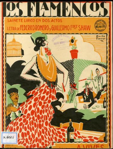Los flamencos : sainete lírico en dos actos / libro de F. Romero y G. Fernz. Shaw ; música de Amadeo Vives.
